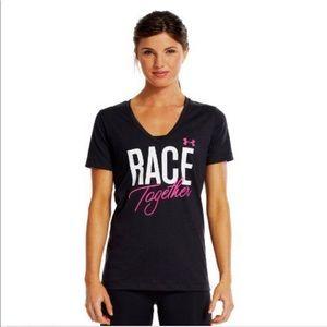 Under Armour Black V Neck Breast Cancer Race Tee